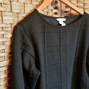 H&M Ribbed Checkered Pattern Knit Black Sweater